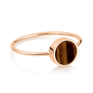 18 carat rose gold ring and tiger eye<br>by Ginette NY