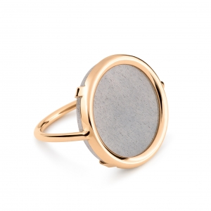18 carat rose gold ring with grey moonstone<br>by Ginette NY