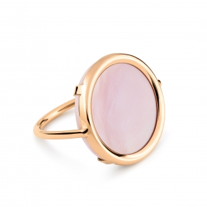 18 carat rose gold ring with pink mother of pearl<br>by Ginette NY