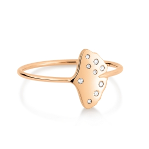 bague or rose 18 carats et diamants<br>by Ginette NY