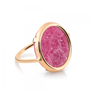bague or rose 18 carats et rhodonite by Ginette NY