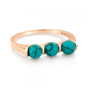 bague or rose 18 carats et turquoise<br>by Ginette NY