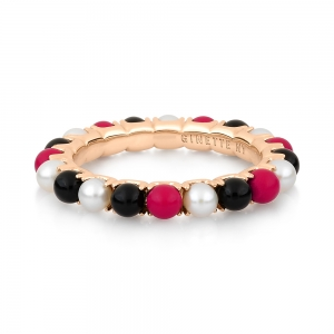 bague or rose 18 carats, pearl, black onyx and red coral<br>by Ginette NY