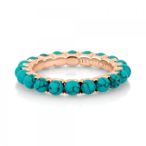 18 carat rose gold ring and turquoise <br>by Ginette NY