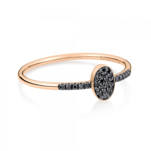 bague or rose 18 carats et diamants noirs<br>by Ginette NY