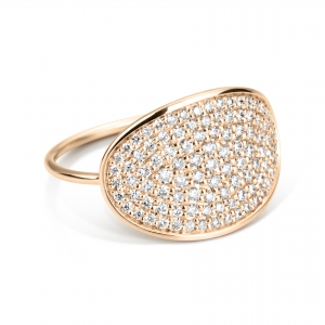18 carat rose gold ring with diamonds<br>by Ginette NY
