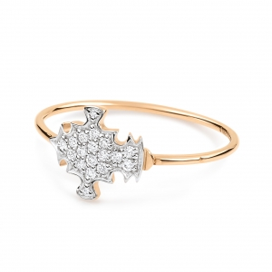 bague or rose 18 carats et diamants (0,09 ct) by Ginette NY