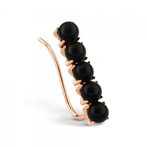 boucle d'oreille solo or rose 18 carats et onyx noir<br>by Ginette NY