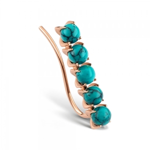 18 carat rose gold solo earring and turquoise <br>by Ginette NY