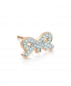 18k rose gold solo earring and diamonds<br>by Ginette NY