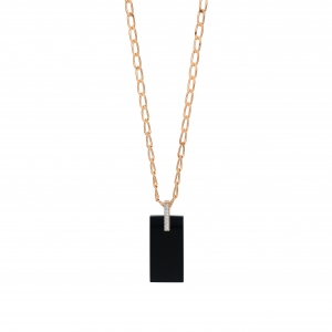 collier or rose 18 carats, onyx et diamants<br>by Ginette NY