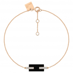bracelet or rose 18 carats, onyx et diamants<br>by Ginette NY