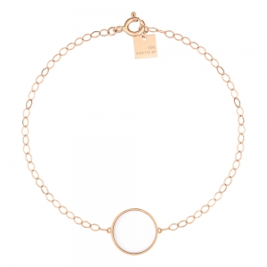 18 carat rose gold bracelet and white agate<br>by Ginette NY