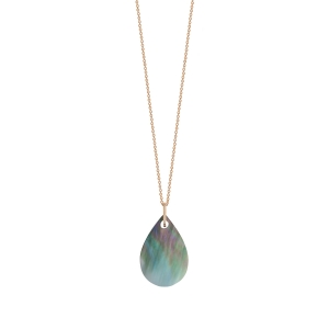 18 karat rose gold necklace and black mother-of-pearl<br>by Ginette NY
