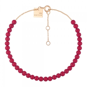 18 carat rose gold bracelet and red coral <br>by Ginette NY