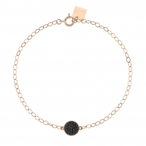 bracelet or rose 18 carats avec diamants noirs <br>by Ginette NY