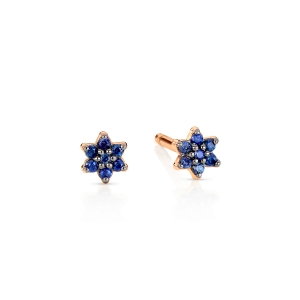 boucles d'oreilles or rose 18 carats et saphirs<br>by Ginette NY