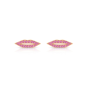 boucles d'oreilles or rose 18 carats et saphir rose<br>by Ginette NY