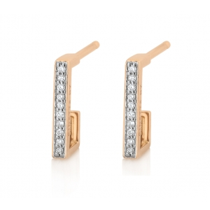 18 carat rose gold and diamonds hoops<br>by Ginette NY