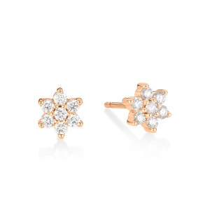 18 carat rose gold studs and diamonds<br>by Ginette NY