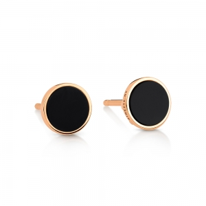 18 carat rose gold studs and black onyx<br>by Ginette NY