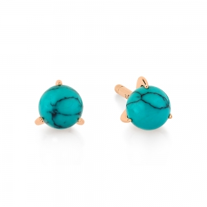18 carat rose gold studs and turquoise <br>by Ginette NY