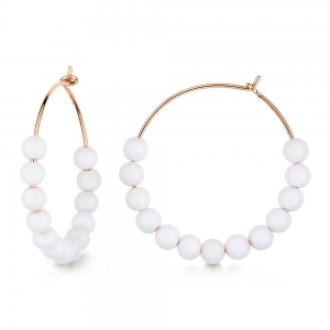 18 carat rose gold hoops and white agate <br>by Ginette NY