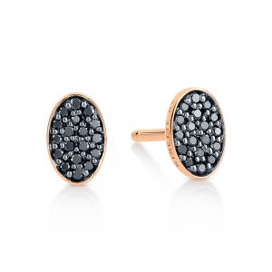 boucles d'oreilles or rose 18 carats et diamants noirs<br>by Ginette NY