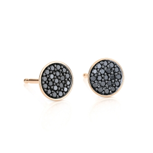 18 carat rose gold and black diamonds studs<br>by Ginette NY