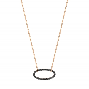 18 carat rose gold necklace and black diamonds <br>by Ginette NY