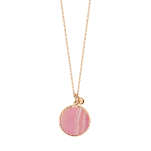 collier or rose 18 carats et rhodocrosite<br>by Ginette NY