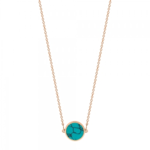 collier or rose 18 carats et turquoise<br>by Ginette NY