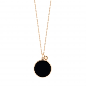 collier or rose 18 carats avec onyx <br>by Ginette NY