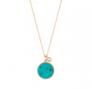 collier or rose 18 carats et turquoise  by Ginette NY