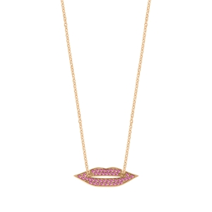 collier or rose 18 carats et saphir rose<br>by Ginette NY