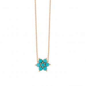 18 carat rose gold necklace with blue turquoise<br>by Ginette NY
