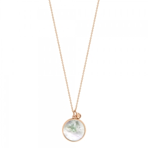 collier or rose 18 carats et nacre blanche<br>by Ginette NY