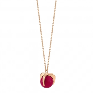18 carat rose gold necklace and red coral <br>by Ginette NY