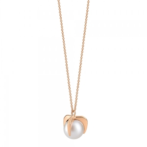 18 carat rose gold necklace and pearls <br>by Ginette NY
