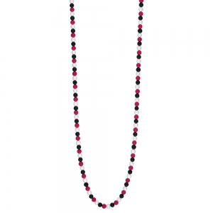 collier or rose 18 carats, pearl, black onyx and red coral<br>by Ginette NY