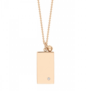 18 carat rose gold necklace with diamond<br>by Ginette NY