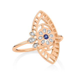 18 carat rose gold ring sapphire and diamonds<br>by Ginette NY