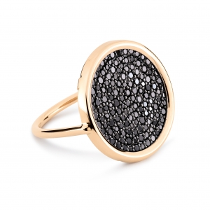 18 carat rose gold ring  with black diamonds<br>by Ginette NY