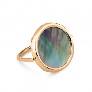 18 carat rose gold ring and black mother-of-pearl<br>by Ginette NY
