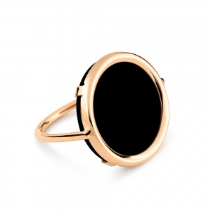 18 carat rose gold and onyx ring Ginette NY