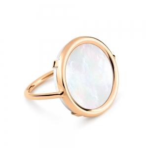 18 carat rose gold and mother-of-pearl ring by Ginette NY