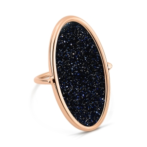 bague or rose 18 carats et blue sand stone<br>by Ginette NY