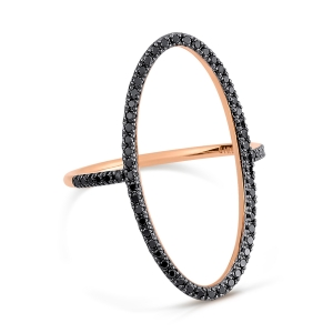 18 carat rose gold ring and black diamonds <br>by Ginette NY