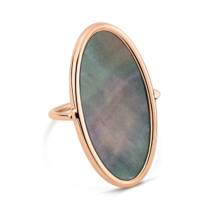18 Karat rose gold ring and black mother-of-pearl<br>by Ginette NY