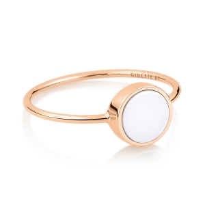 18 carat rose gold ring and white agate <br>by Ginette NY